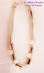Collar corto de cordon con tubos en dorado y beige. Para el día a día.