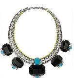 MODELO COI14002. Gargantilla de perlas con rhinestone, pedreria azul y cinco grandes piedras negras. Precioso! 12€
