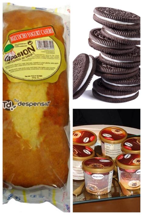 Bizcocho, galletas oreo y helado